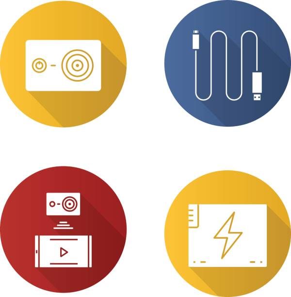 Action camera icons Action camera flat design vector icons. Mini USB cable, battery, action camera to smartphone wireless connection cell phone charger stock illustrations