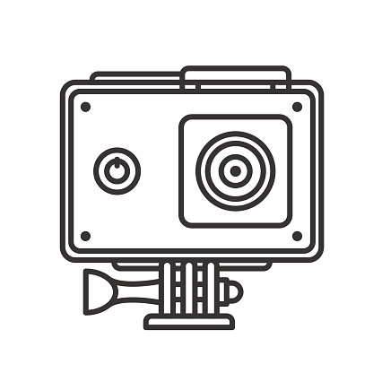 Action camera in protection case icon