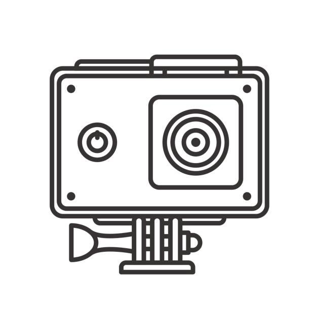 stockillustraties, clipart, cartoons en iconen met actiecamera in bescherming zaak pictogram - gopro