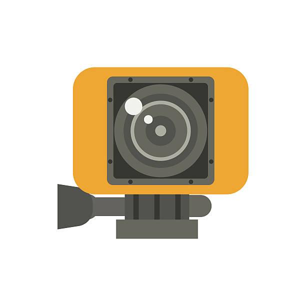 stockillustraties, clipart, cartoons en iconen met action camera in yellow case vector illustration - gopro