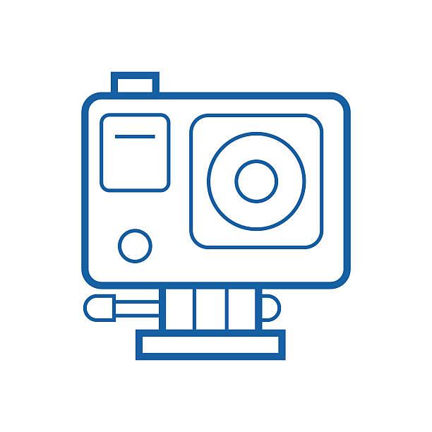 stockillustraties, clipart, cartoons en iconen met action camera line icon - gopro