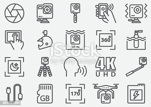 Action Camera Line Icons