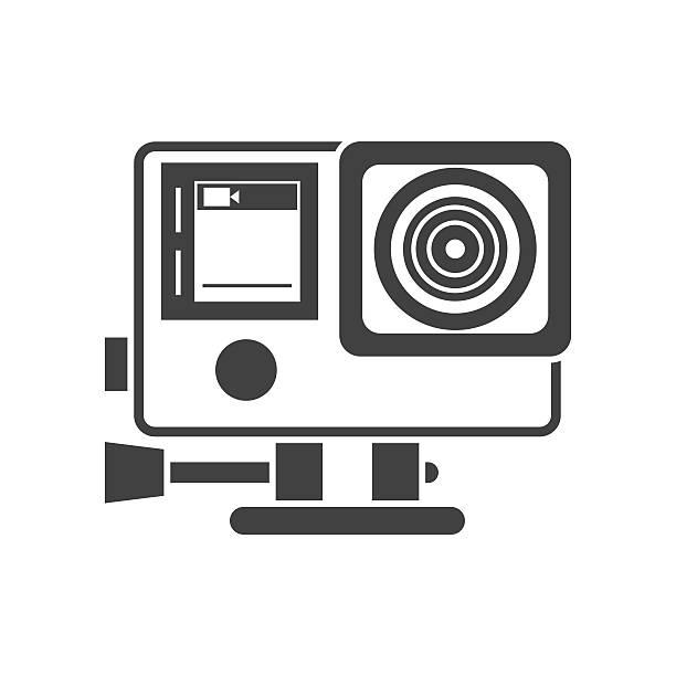 stockillustraties, clipart, cartoons en iconen met action camera outline vector icon - gopro