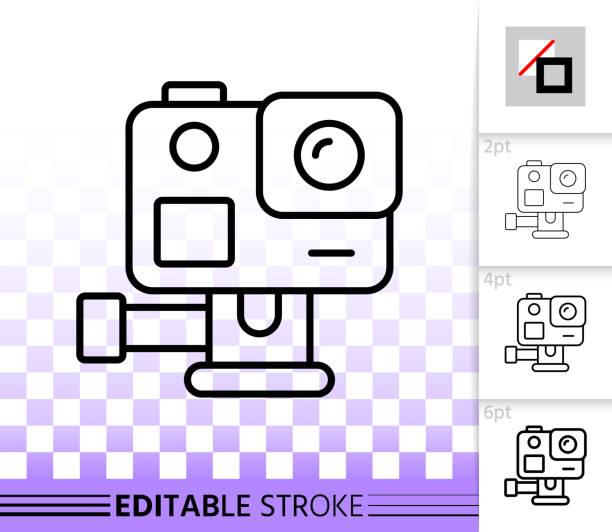 stockillustraties, clipart, cartoons en iconen met actie camera eenvoudige zwarte lijn vector-icoontje - gopro