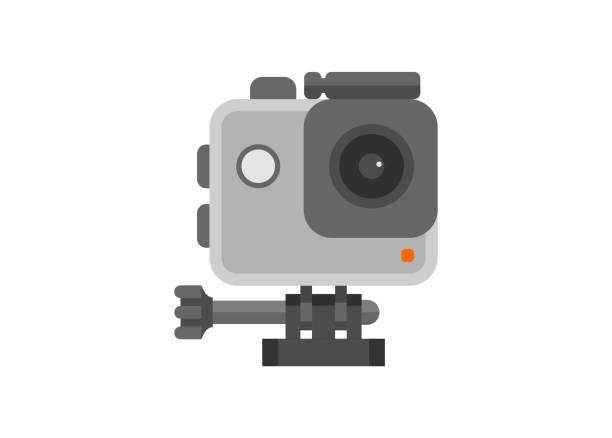 stockillustraties, clipart, cartoons en iconen met actiecamera. eenvoudige vlakke illustratie. - gopro
