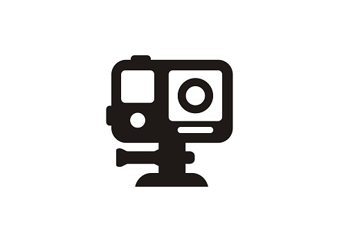 Action camera. Simple icon in black and white.