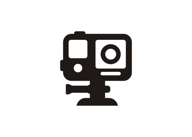 stockillustraties, clipart, cartoons en iconen met actie camera. eenvoudig pictogram in zwart-wit. - gopro