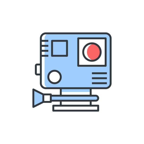 stockillustraties, clipart, cartoons en iconen met actiecameravector gevulde kleurillustratie. - gopro