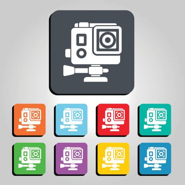 stockillustraties, clipart, cartoons en iconen met actie camera vectorillustratie pictogram - gopro