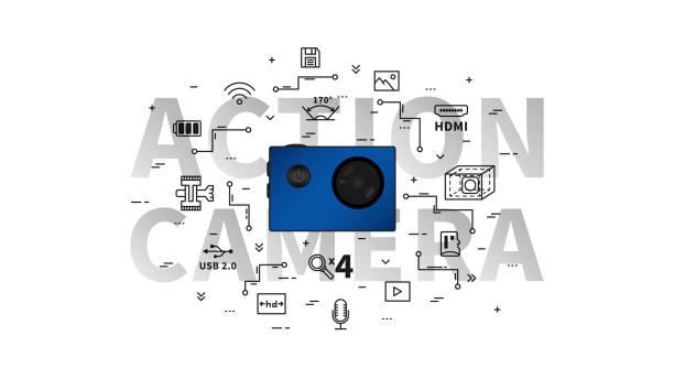 stockillustraties, clipart, cartoons en iconen met actie camera vectorillustratie - gopro