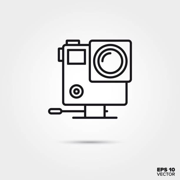 stockillustraties, clipart, cartoons en iconen met actie camerasymbool vector lijn - gopro