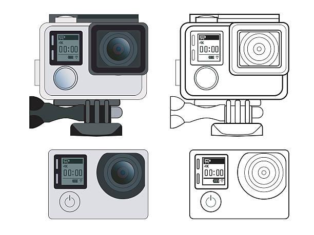 stockillustraties, clipart, cartoons en iconen met action camera vector stock illustration - gopro