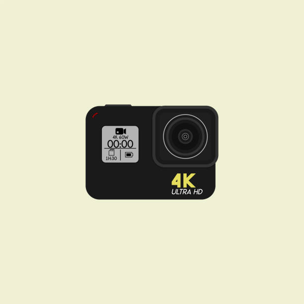 stockillustraties, clipart, cartoons en iconen met actie camera vector template - gopro