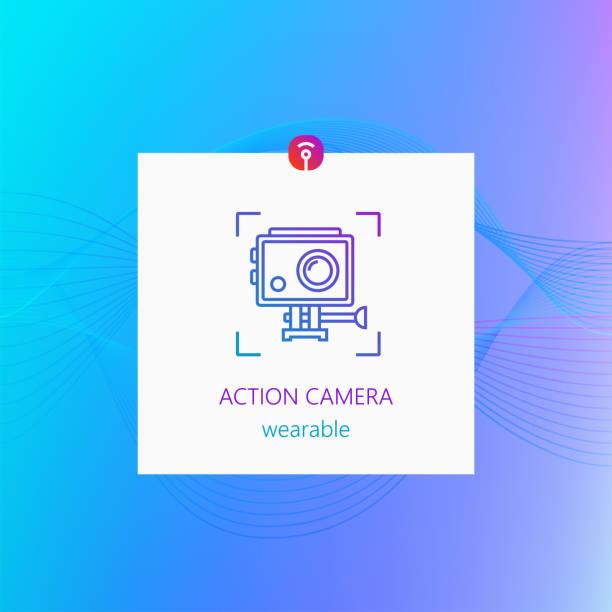 stockillustraties, clipart, cartoons en iconen met actie camera draagbare gadget - gopro