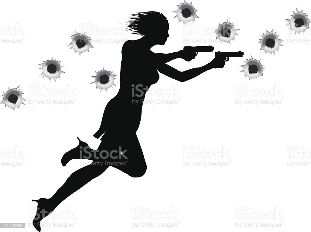 Action Hero Shoot Out Woman royalty-free stock vector art