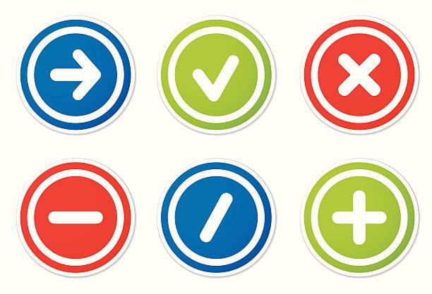 illustrazioni stock, clip art, cartoni animati e icone di tendenza di turno adesivi icone di azione - segno meno