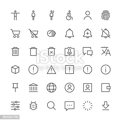 Set of 36 pixel perfect action icons with a thin line design