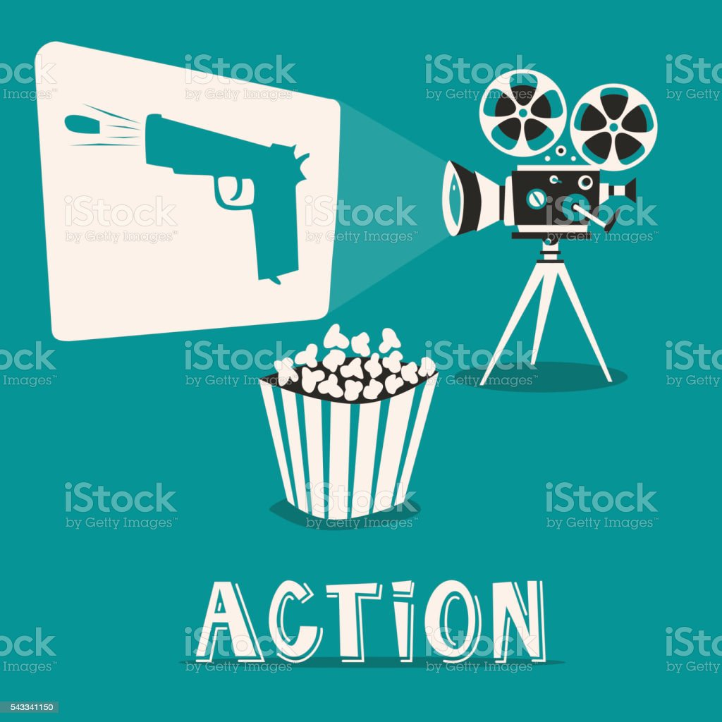 Action in the cinema. Intriguing film with popcorn vector art illustration