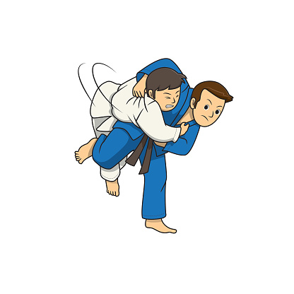 Action of judo athlete throwing the opponent during fight isolated on white background. Kids coloring page, drawing, art, first word, flash card. Color cartoon character clipart vector illustration.