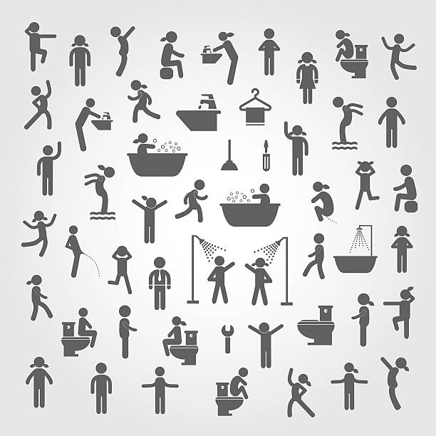 action people and  hygiene icons set action people and  hygiene icons set on gray background female animal stock illustrations