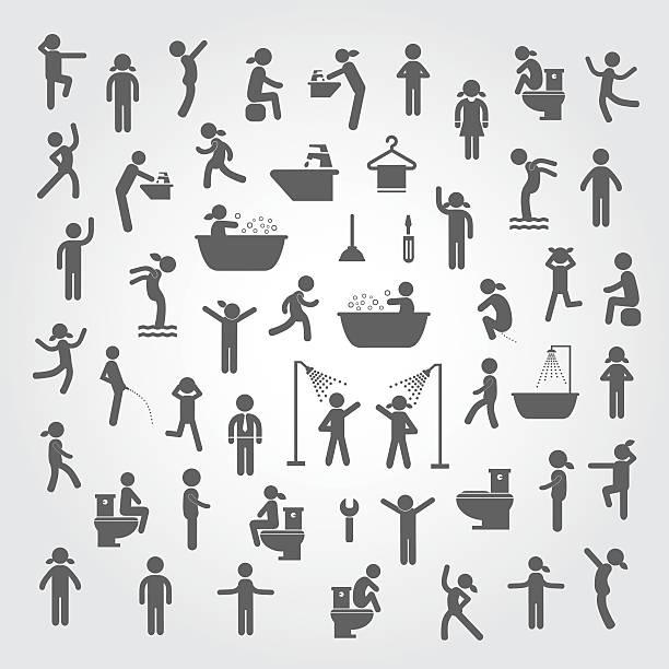 stockillustraties, clipart, cartoons en iconen met action people and  hygiene icons set - vrouw schoonmaken