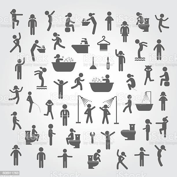 Action People And Hygiene Icons Set Stockvectorkunst en meer beelden van Aanraken