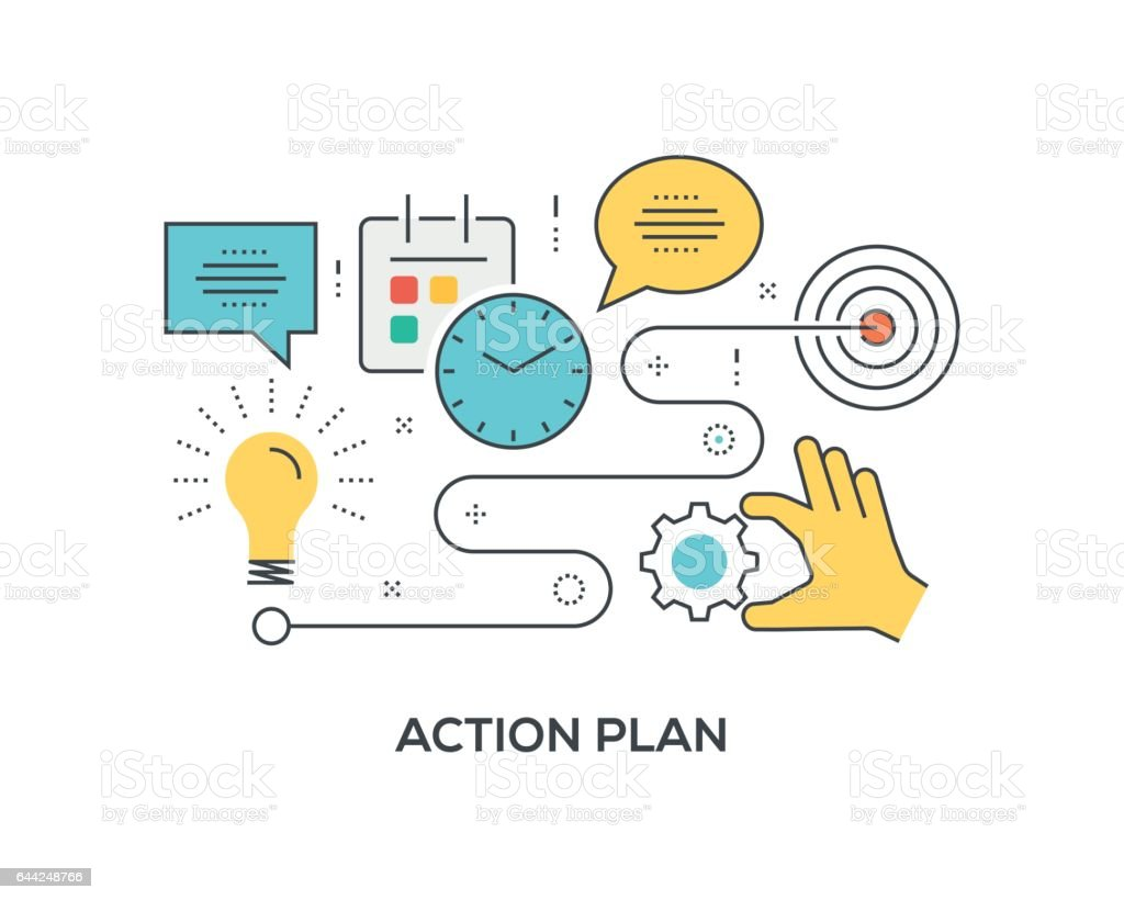 Action Plan Concept with icons vector art illustration