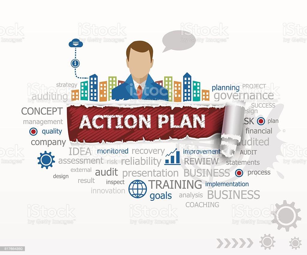 Aktionsplan Wort Wolke Und Geschäft Mann Stock Vektor Art und mehr ...