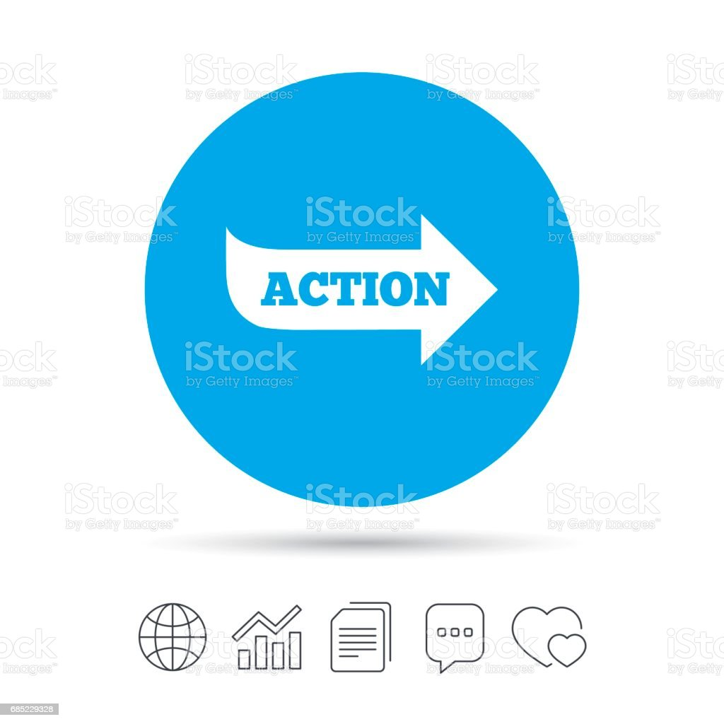 Action sign icon. Motivation button with arrow. royalty-free action sign icon motivation button with arrow stock vector art & more images of arrow symbol