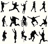 15 INDIVIDUAL SILHOUETTES. ZOOM IN to check out the detail. This set of silhouettes shows a variety of action sports athletes. This illustration is perfect for a variety of different design projects. This file has been layered and grouped for easy editing. This file includes a large JPG file, an ai V10 file, and an eps file.
