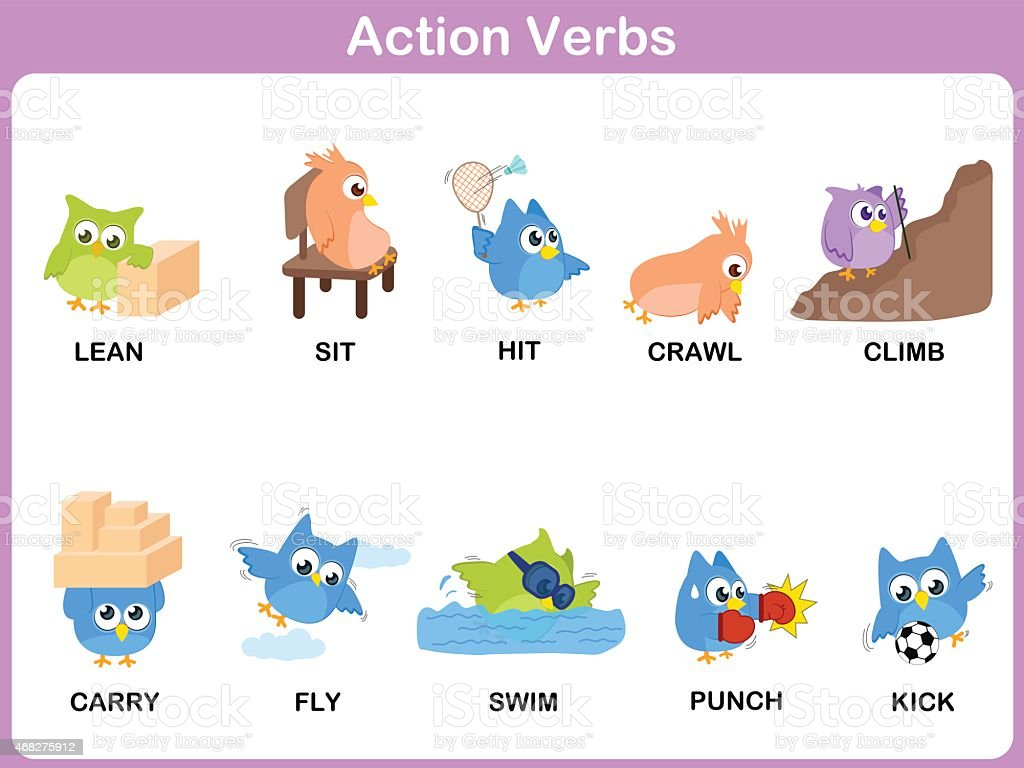 action verbs picture dictionary for kids royalty free stock vector art - Action Berbs
