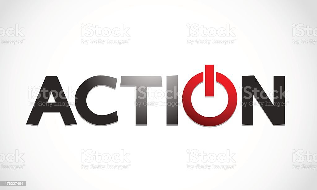 Action Word With Power Symbol Stock Vector Art More Images Of 2015