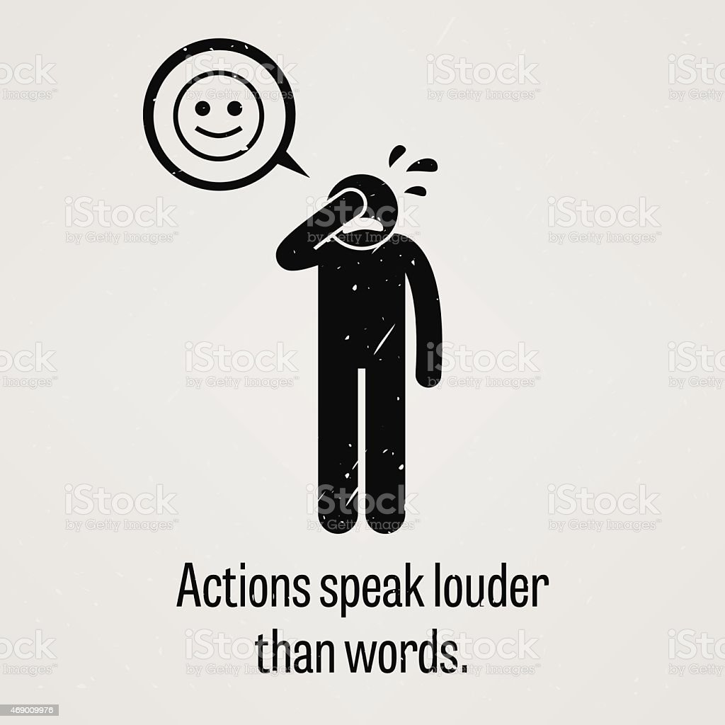 actions speak louder than words stock vector art istock actions speak louder than words royalty stock vector art