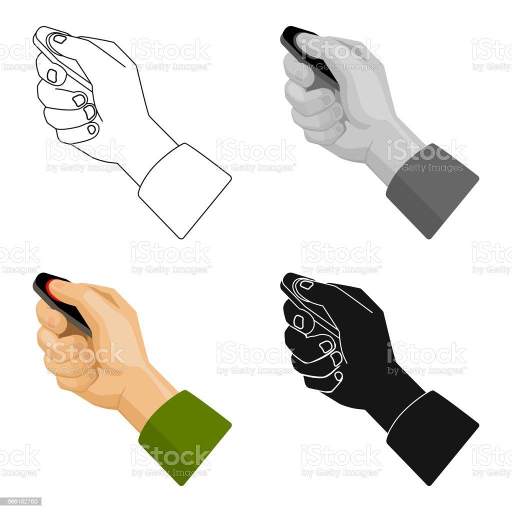 Attivazione dell'icona dell'allarme auto in stile cartone animato isolato su sfondo bianco. Illustrazione web vettoriale del simbolo della zona di parcheggio. - arte vettoriale royalty-free di Chiave dell'automobile