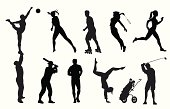 Active Adults Vector Silhouette