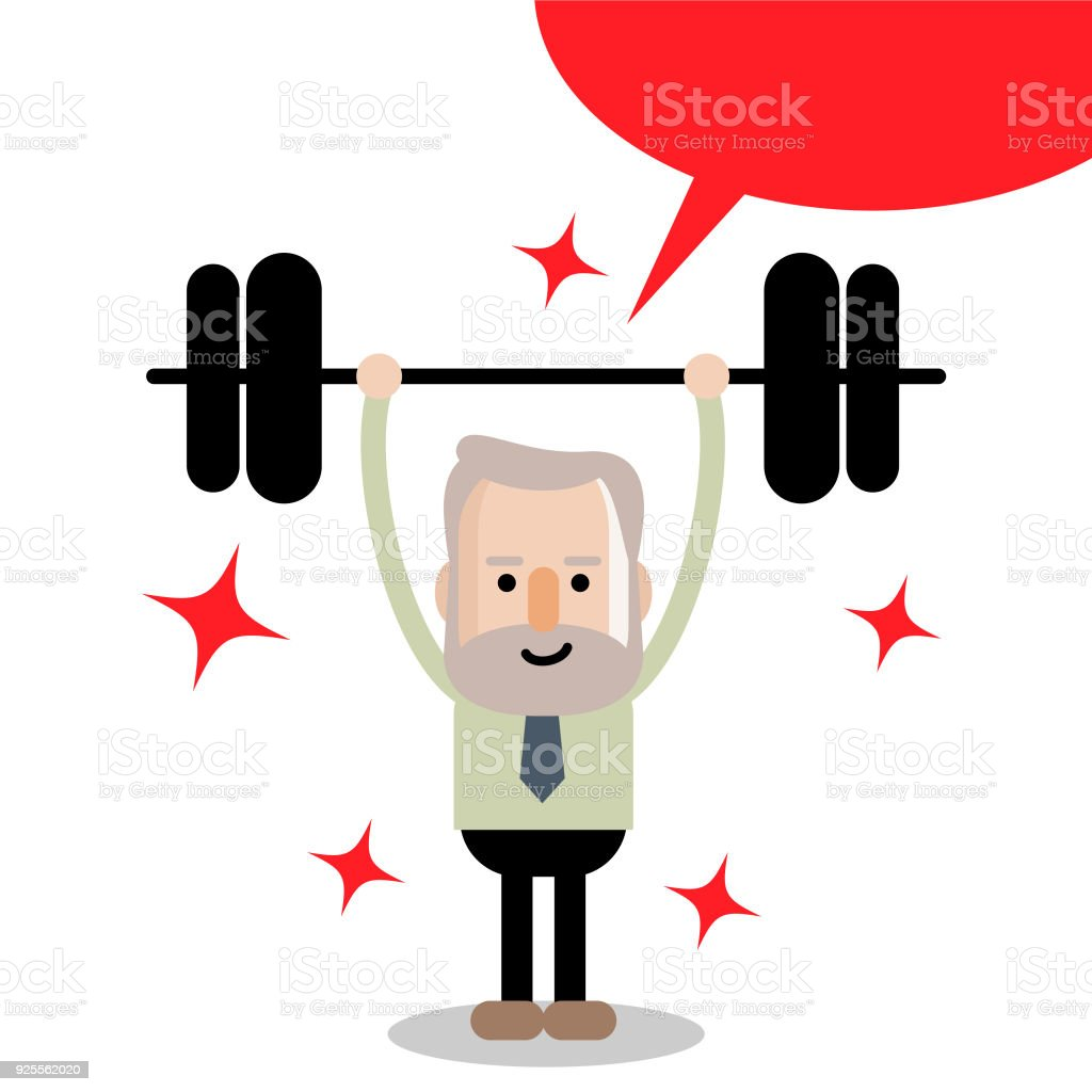 Active and healthy lifestyle senior businessman lifting a weight up and down vector art illustration