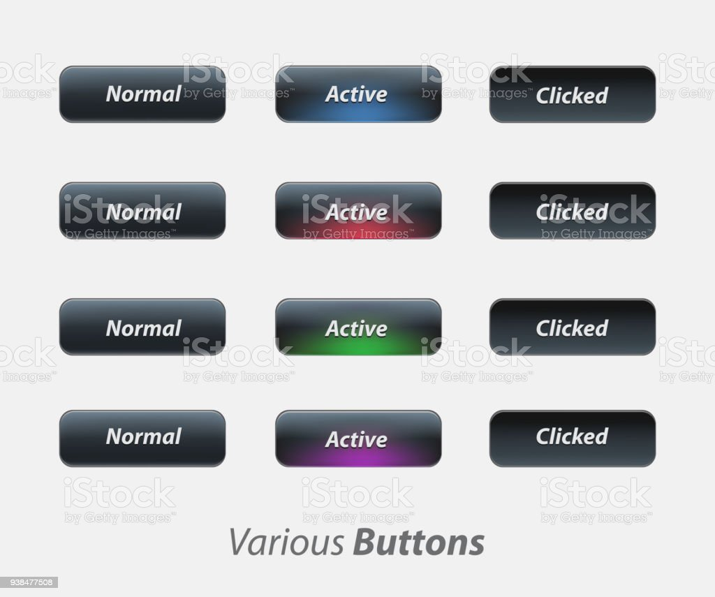 Aktive Taste Nichtactivtaste Benutzeroberfläche Ux Kit Stock Vektor ...