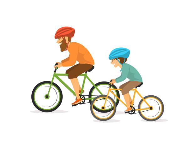 illustrations, cliparts, dessins animés et icônes de actif joyeux père et fils, homme et garçon à vélo, à vélo. scène d'illustration isolé vecteur heureux active vie familiale saine - modèles de bande dessinée