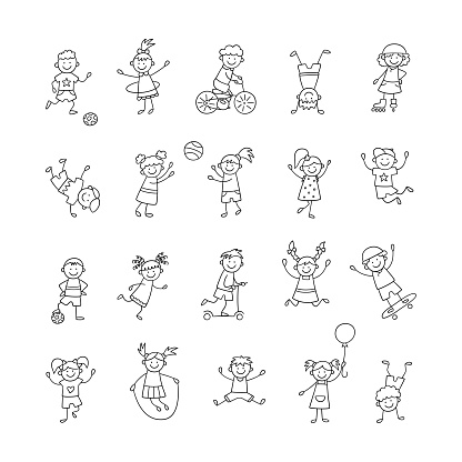 Active children play, run and jump. Happy cute doodle kids. A set of isolated characters. Vector illustration i