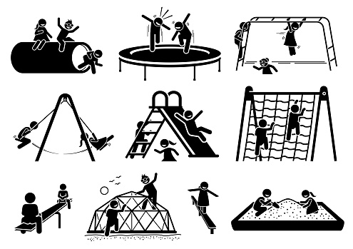 Active children playing at playground stick figures icons cliparts.