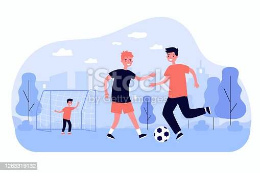 Active children playing soccer outdoors