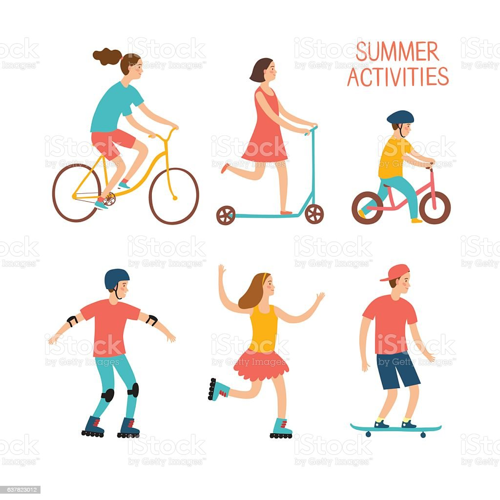 Active children riding and playing outdoor vector art illustration