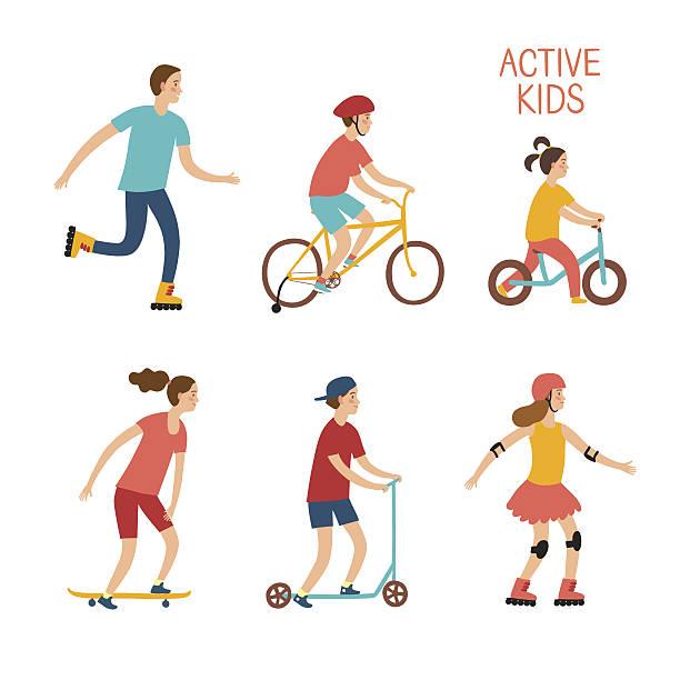 stockillustraties, clipart, cartoons en iconen met active children riding and playing outdoor - step