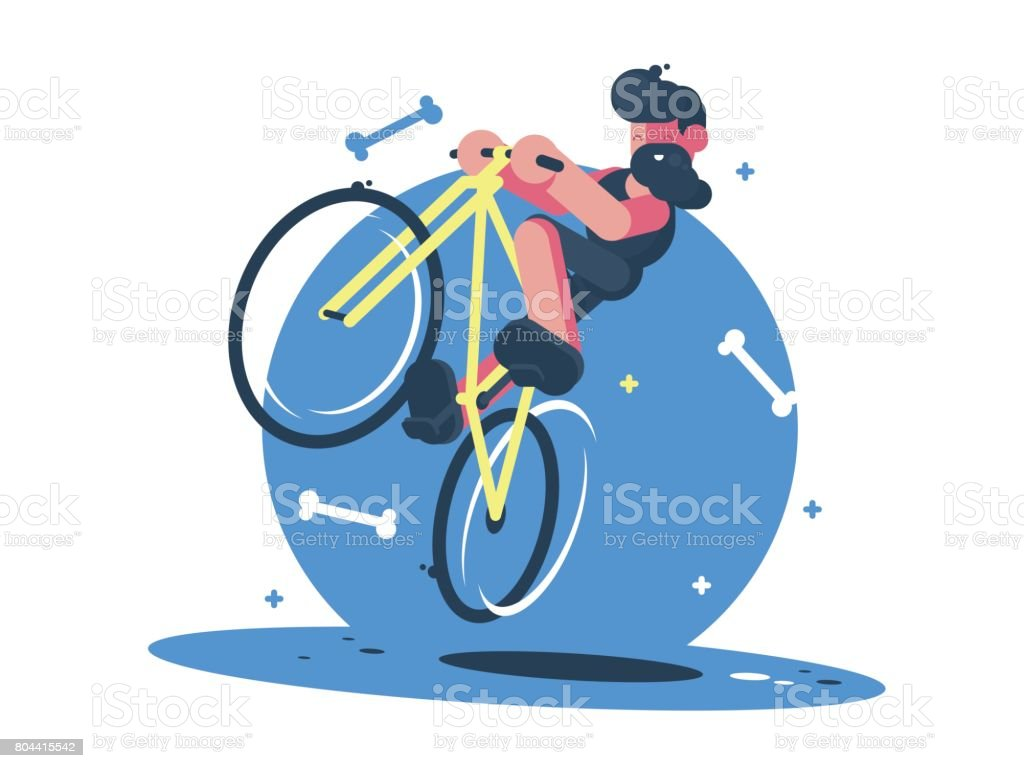 Active dude rides bicycle vector art illustration
