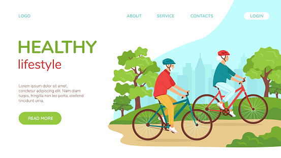 Active elderly gray-haired man and woman ride bicycles in park. Healthy lifestyle landing page template concept for seniors, active recreation retirement. Vector illustration