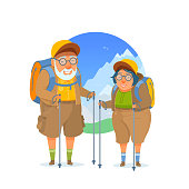 Camping trip, hike, backpacking. Funny cartoon illustration isolated from white. Couple on background mountains nature.