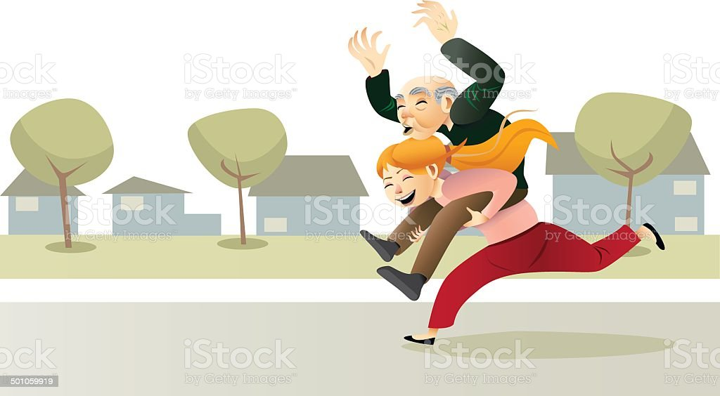 Active Elderly vector art illustration