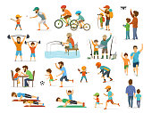 active family father and son collection, man and boy playing american  football, soccer ball, flying drone, riding bike fishing exercising with barbell in gym, arm wrestling running jogiing front and side view, do push ups workout, hiking camping walking together set