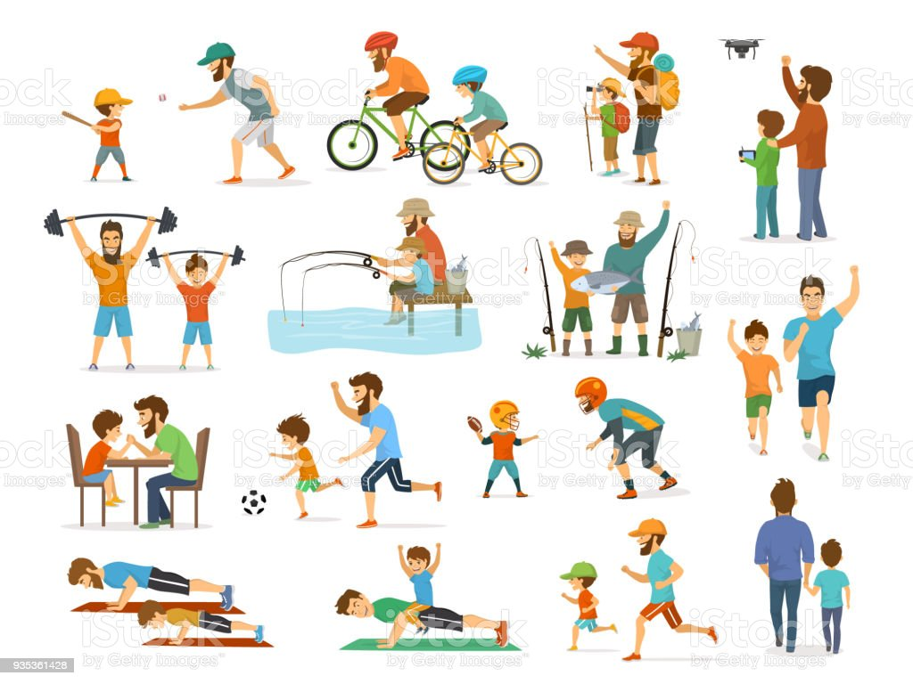 active family father and son collection, man and boy playing american  football, soccer ball, flying drone, riding bike fishing exercising vector art illustration