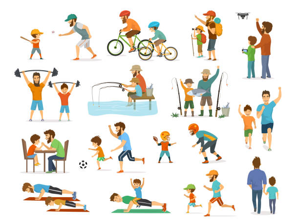 active family father and son collection, man and boy playing american  football, soccer ball, flying drone, riding bike fishing exercising - father stock illustrations, clip art, cartoons, & icons